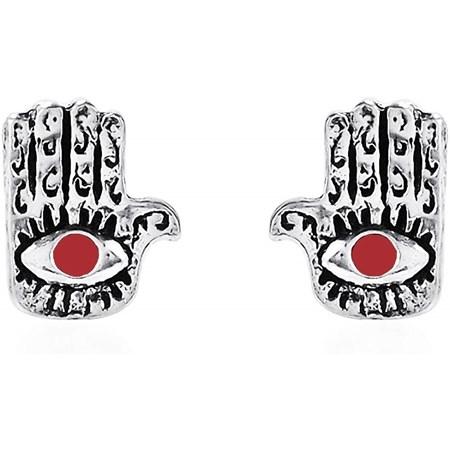 Brinco de prata artesanal hamsa - olhinho vermelho