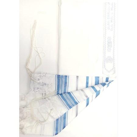 Talit de Poliéster com listras azuis claras - Tamanho 50
