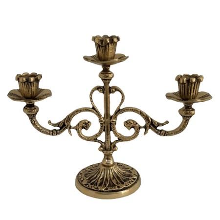 Castiçal de metal dourado para três velas médio