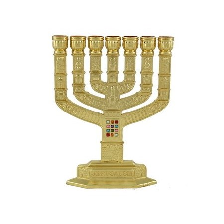 Menorá  Knesset doze tribos - Dourada