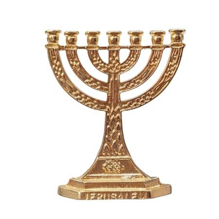 Menorá dourada Jerusalém pequena