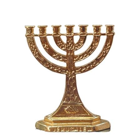 Menorá dourada Jerusalém pequena - Tamanho 3,5 cm