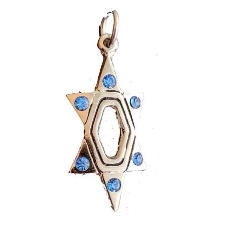 Pingente estrela de David niquelada com pedrinhas azuis
