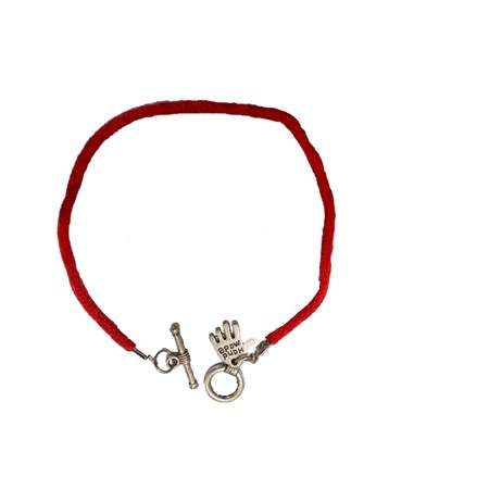 Pulseira fio vermelho Hamsa prateada