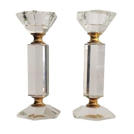 Castiçal grande de cristal sextavado