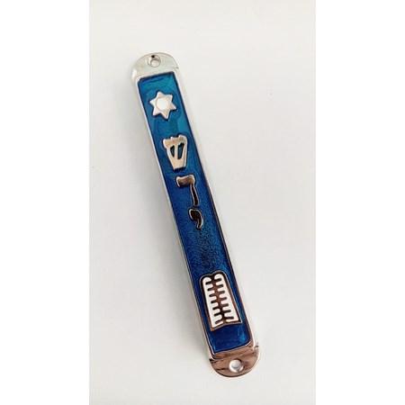 Mezuzá esmaltada - Tábuas da Lei (metal) - Azul