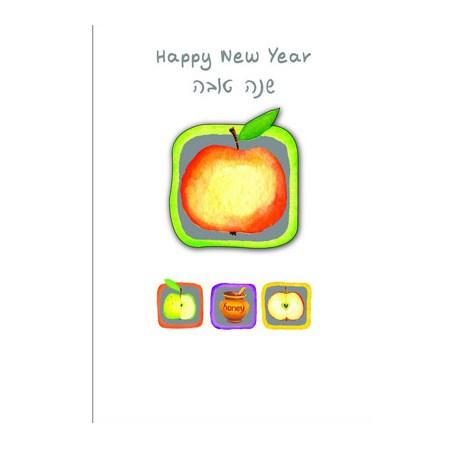 Cartão Shaná Tová maçã em alto relevo