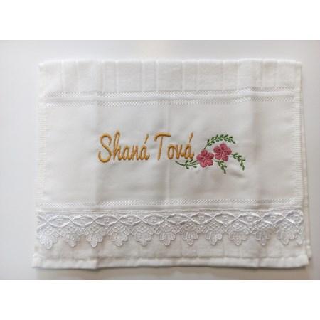 Toalha de lavabo Shaná Tová - Bordado Dourado