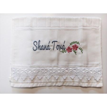Toalha de lavabo Shaná Tová - Bordado Prateado