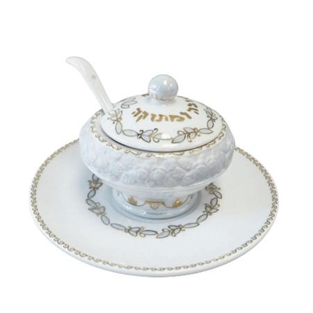 Meleira porcelana branca com colher