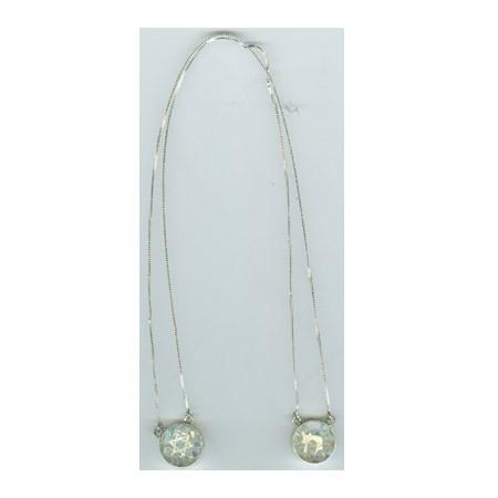 Corrente com dois pingentes de prata e cristal  redondo grosso transparente