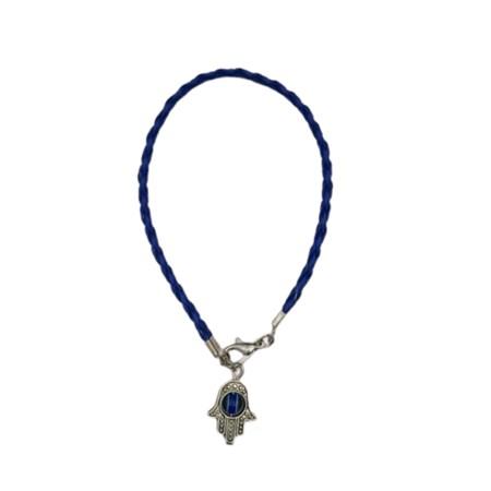 Pulseira fio de couro colorido hamsa - Azul