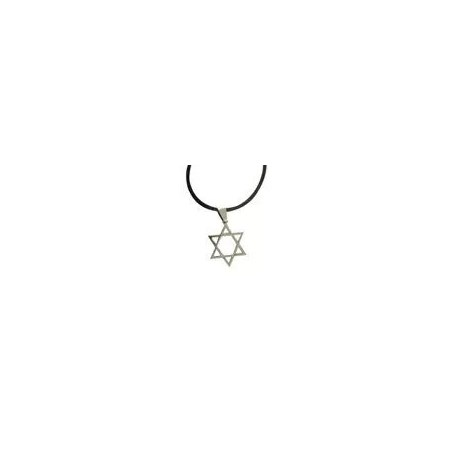 Colar e pingente de aço estrela de David - Prateada