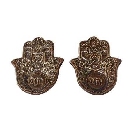 Castiçal hamsa de cerâmica - Cor Bronze