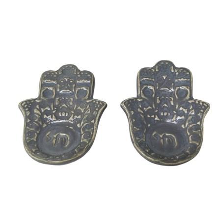 Castiçal hamsa de cerâmica - Cor Azul Jeans