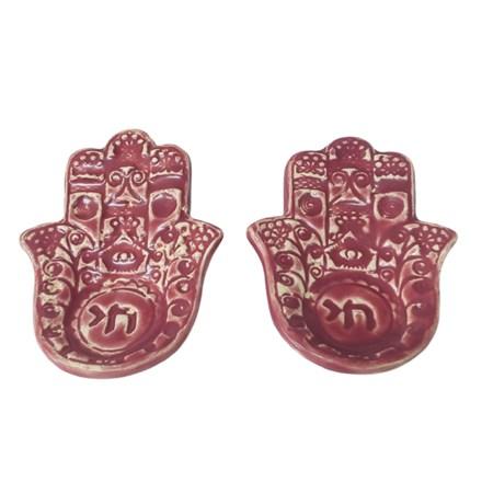Castiçal hamsa de cerâmica - Cor Rosa