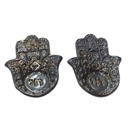 Castiçal hamsa de cerâmica - Cor Metal