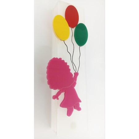 Mezuzá acrílico infantil balões menina