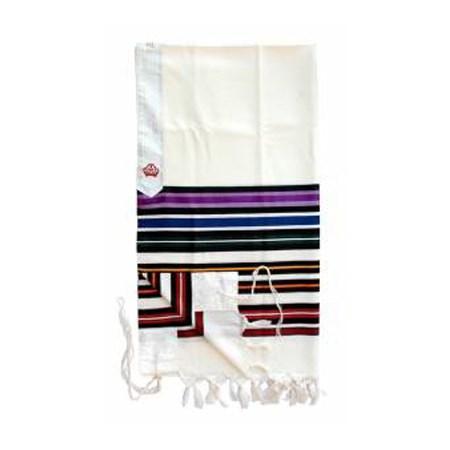 Talit de Lã com Listras coloridas - Tamanho 18