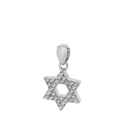 Pingente estrela de David prata com zircônias brancas