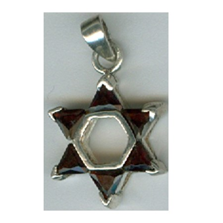 Pingente estrela de David prata com pedra - Marrom
