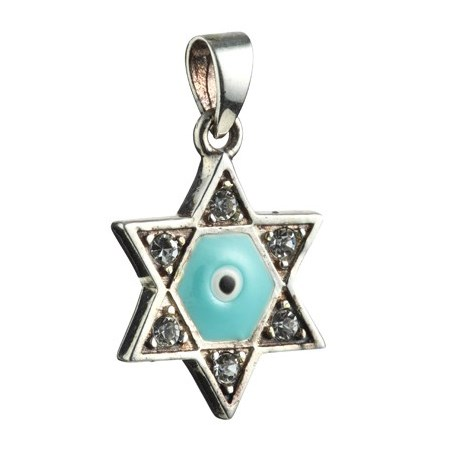 Pingente estrela de David prata olho verde - pequena