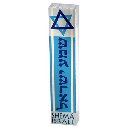 Mezuzá shemá Israel azul (acrílico) (DJ)