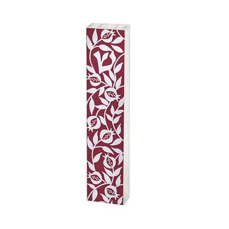 Mezuzá acrílico e papel decorado vazado vinho