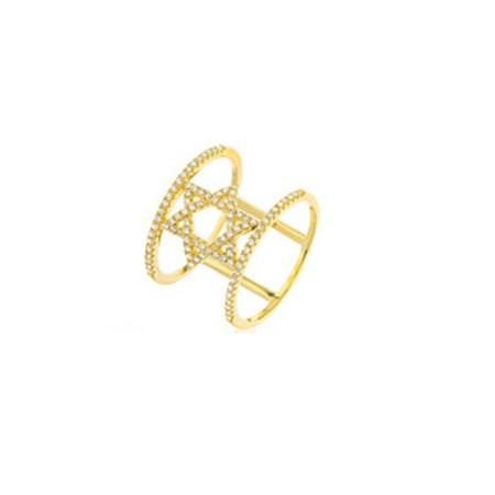 Anel vazado redondo estrela de David - Tamanho 15
