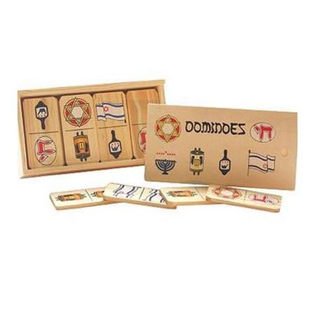 Jogo de dominó madeira símbolos judaicos