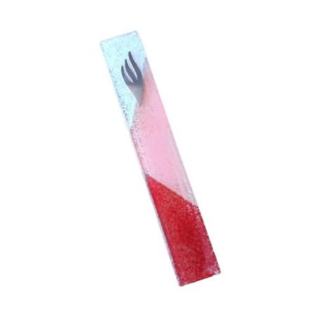 Mezuza branca e vermelha (vidro)