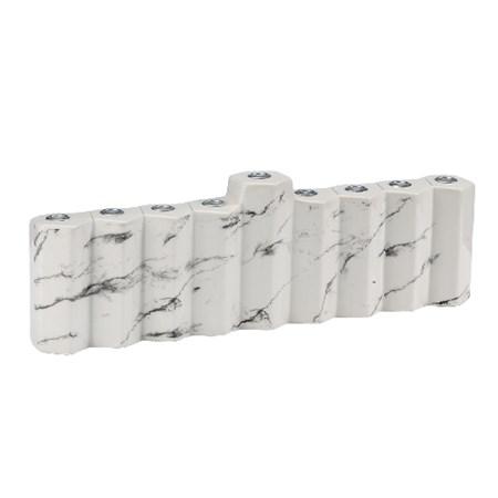 Chanukiá de cerâmica branca mármore