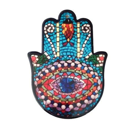 Hamsa de porcelana mosaico colorido