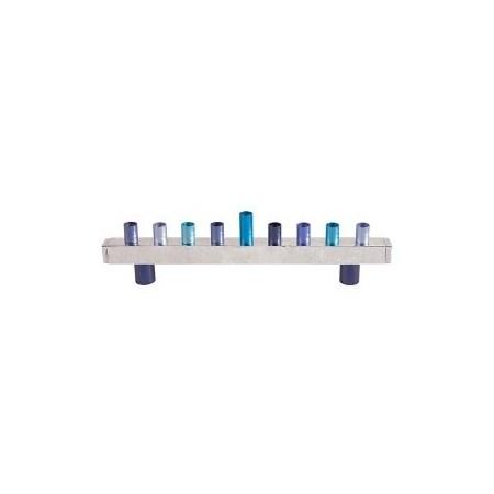 Chanukiá de alumínio azul (EMANUEL)