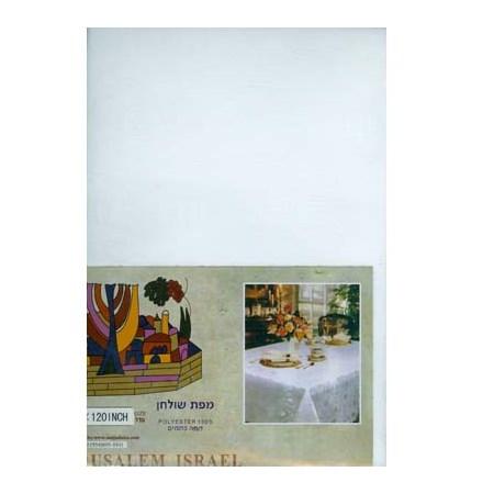 Toalha de mesa branca simbolos judaicos - Tamanho 1,50 x 3,00