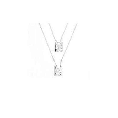 Escapulário de prata chai e Estrela - 70 cm