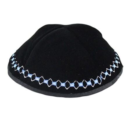 kipá bordado corrente prateado e azul