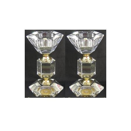 Castiçal pequeno cristal sextavado