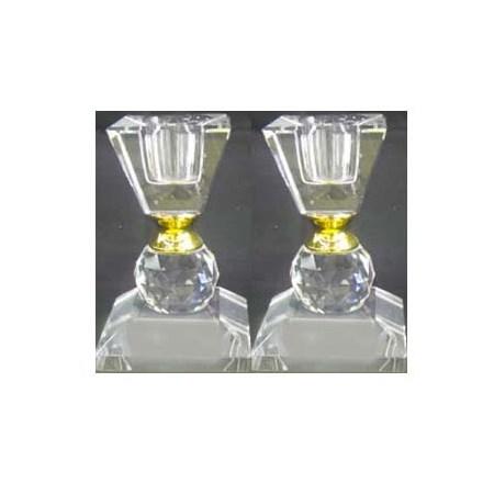 Castiçal pequeno cristal quadrado