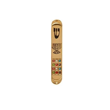Mezuzá simbólica para carro com menorá e doze tribos