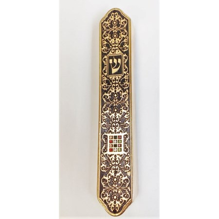 Mezuzá decorada 12 tribos em fundo preto (metal) - Dourada