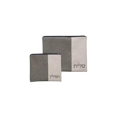 Conjunto capas de Talit e Tefilin de couro cinza e branco