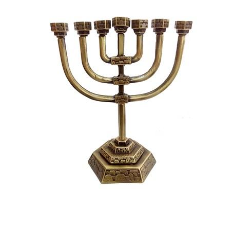 Menorá Jerusalém Decorada - Ouro Velho