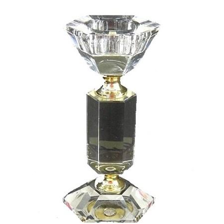 Castiçal médio de cristal sextavado