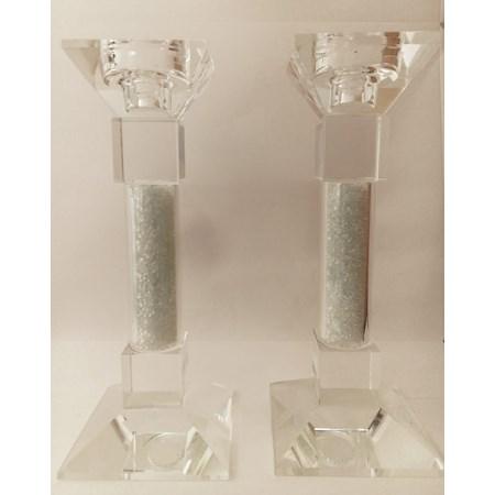 Castiçal de cristal com pedrinhas brancas - Tamanho 20cm