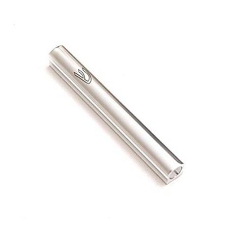 Mezuzá tubular lisa arredondada de 12 cm (alumínio) - PRATEADA