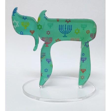 Escultura acrílico Chai - Verde água Menorá