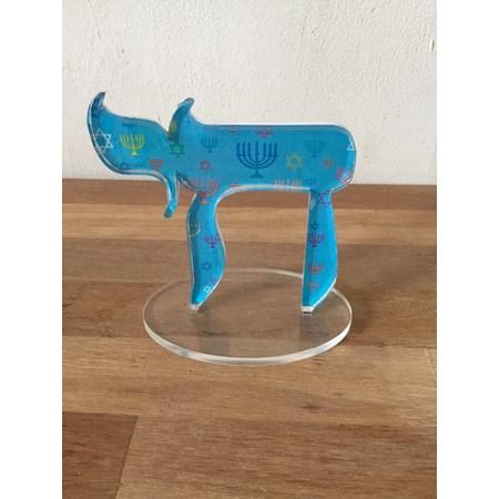 Escultura acrílico Chai - Azul Menorá