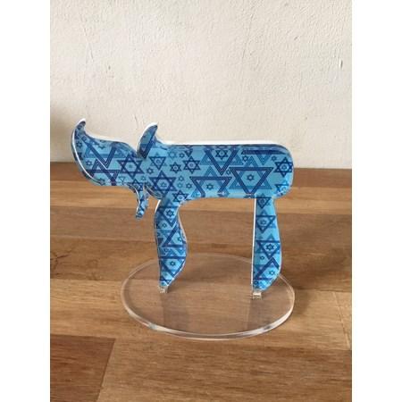 Escultura acrílico Chai - Azul Estrelas de Davi