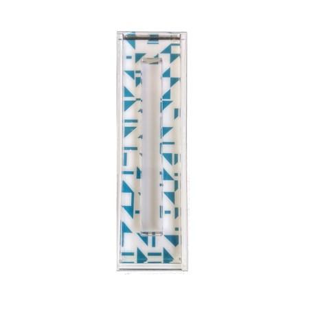 Mezuzá acrílico decorado - Geometrica Azul